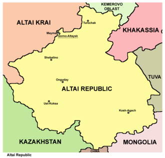 Altai Republic - Map of the Altai Republic