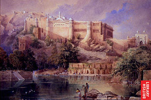 Amer Fort - A view of the fort at Amber in Rajasthan; a watercolor by William Simpson, c.1860
