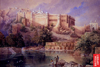 Amer Fort - A view of the fort at Amer in Rajasthan; a watercolor by William Simpson, c.1860