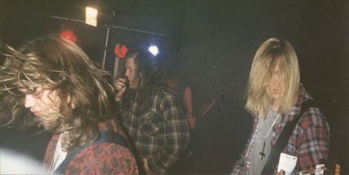 Amorphis in 1992 with Jukka Kolehmainen of Abhorrence Amorphis1992.jpg
