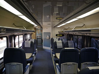 "Pacific Surfliner - Lower-level seating on a Pacific Surfliner ""Pacific Business Class"" car."