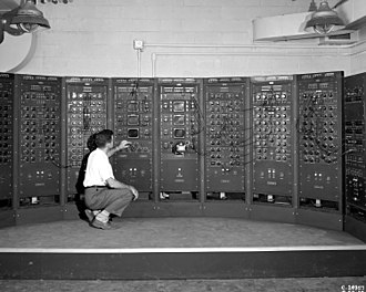 Analog computer - Analog computing machine at the Lewis Flight Propulsion Laboratory circa 1949.