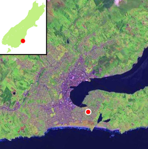 Andersons Bay - Location of Andersons Bay within Dunedin's main urban area