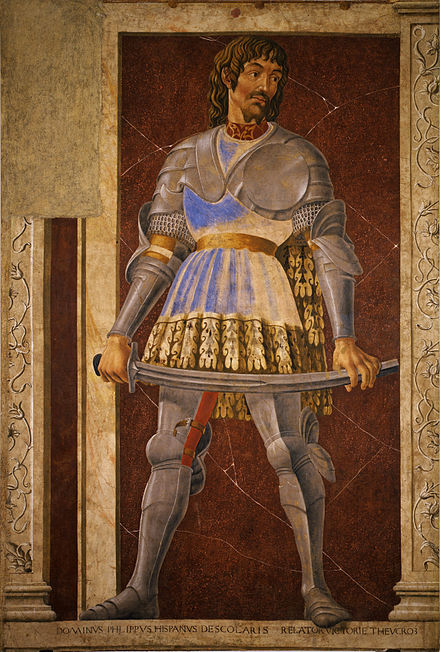14th century knight Pippo Spano, member of the Order of the Dragon Andrea del Castagno - Pippo Spano, Niccolo Acciaiuoli, Francesco Petrarca - Google Art Project.jpg