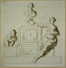 Mantel clock with allegorical figure