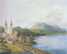 View of Lucerne– watercolour by Mendelssohn, 1847 (Source: Wikimedia)