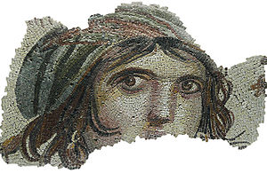"Zeugma, Commagene - The ""Gypsy Girl"" mosaic fragment (Zeugma Mosaic Museum)"