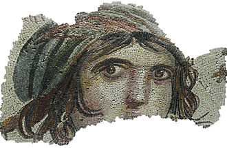 "Gaziantep Museum of Archaeology - The ""Gypsy Girl"" mosaic of Zeugma, Turkey.  Uncovered during excavations undertaken in the winter of 1998-1999, moved into Zeugma Mosaic Museum in 2011."