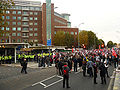 Anti BNP protestors and police outside BBC Television Centre.jpg