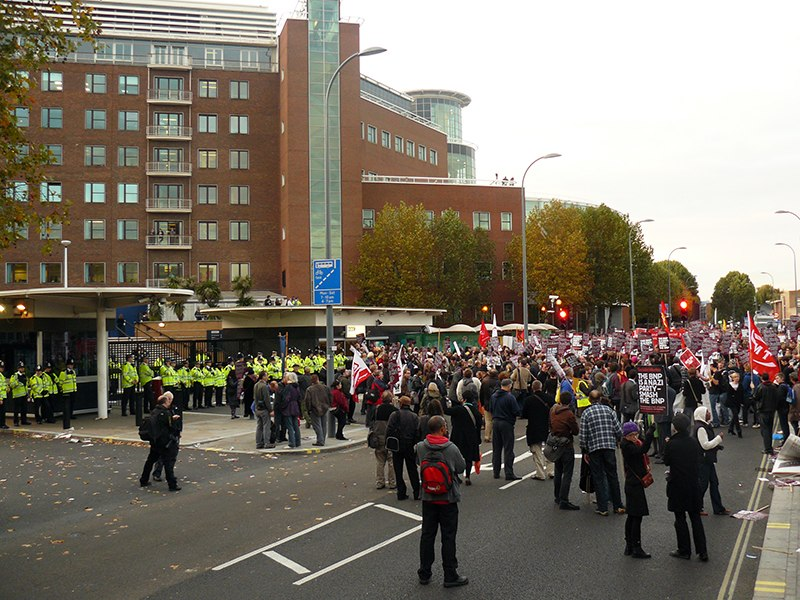 Anti BNP protestors and police outside BBC Television Centre