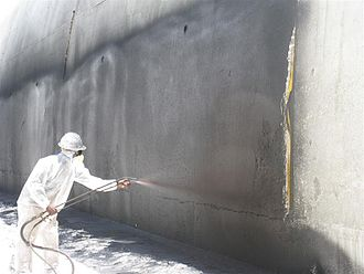 Waterproofing - Waterproofing conducted on the exterior of a freeway tunnel