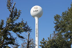 Water tower in Arp, Texas