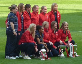 Laura Harvey - Harvey (top left) with the Arsenal LFC in 2011