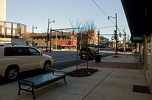 Cityscape of Ashland, Kentucky - A renovated streetscape, looking east along Winchester Avenue.