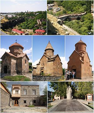 From top left: Ashtarak town • Ashtarak bridge of 1664 Karmravor Church • Saint Marianeh Church • Surp Sarkis Church House-museum of Perch Proshyan • the statue of Nerses Ashtaraketsi
