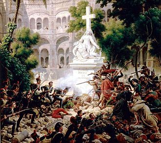 "Abbey of Santa Engracia - Siege of Saragossa (1809). Painting by General Louis-François Lejeune first published in 1809 in its work Assault to the Convent of Santa Engracia. This is located at the Versailles's Museum and exposed the first time in the Hall at 1827. Here Lejeune expresses the terrible character of the war in Spain. On both sides of the ""Mater dolorosa"" statue's abbey, the French enter to the assault against guerrillas and Spanish friars."