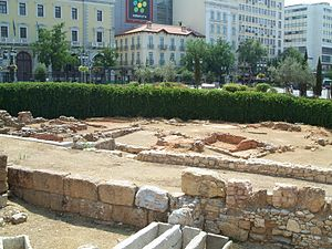 Kotzia Square - Antiquities on display at Kotzia square: tombs, an ancient street and parts of the city's fortifications.