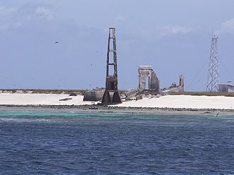 Rocas Atoll - Ruins of the old lighthouse, with the new lighthouse in the background