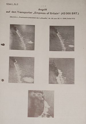 "RMS Empress of Britain (1930) - ""Attack on the transport Empress of Britain 42,000 Gross Register Tons. Front Line Intelligence Newssheet of the Luftwaffe No. 26, Sheet 213."""