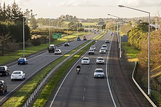Auckland Southern Motorway - View looking north over Auckland's Southern Motorway from Bremner Road overbridge at Drury, Auckland