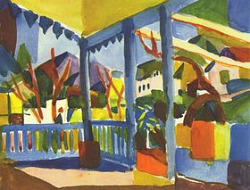 Terrasse à Saint-Germain par August Macke en 1914
