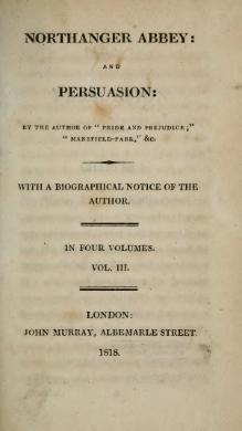 Austen - Northanger Abbey. Persuasion, vol. III, 1818.djvu