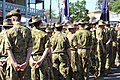 Australian soldiers stand and wait for Anzac parade 1.jpg
