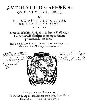 Autolycus of Pitane - De sphaera quae movetur liber