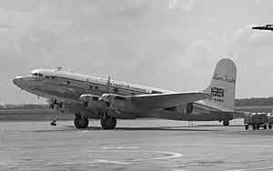 "Avro Tudor - Avro 688 Super Trader 4B ""Conqueror"" of Air Charter Ltd at Manchester's Ringway Airport in June 1955"