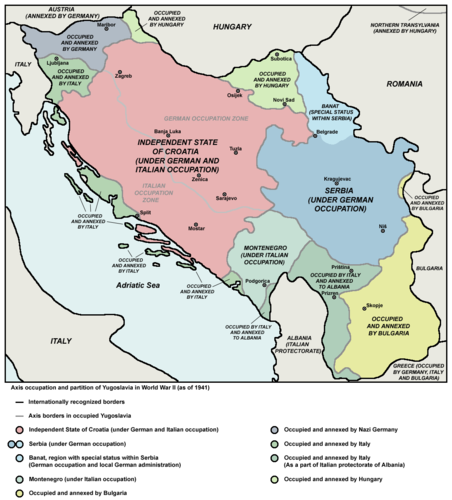 Serbia after Kingdom of Yugoslavia's occupation by the Axis and neighbouring puppet states during World War II Axis occupation of Yugoslavia, 1941-43.png