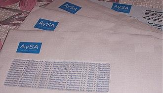 Water supply and sanitation in Argentina - Bills of Aguas y Saneamientos Argentinos