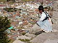 Aymara Woman Looks Out on Copacabana from Cerro Calvario - Copacabana - Bolivia (3776986964).jpg