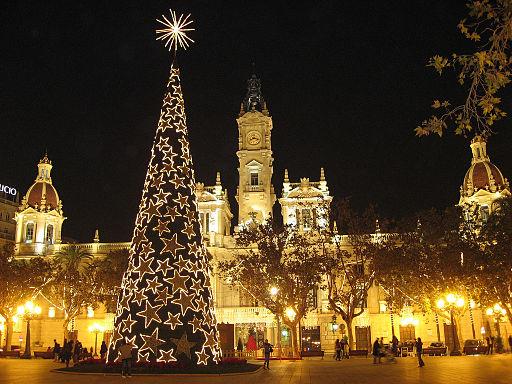Ayuntamiento en Navidad (Valencia)