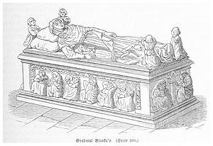 Minoritenkirche - Drawing of the tomb of Blanche of France, Duchess of Austria, which was lost around 1784