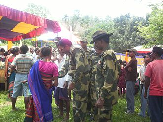 Border Security Force - BSF soldiers contributing and supporting at a Medical Camp, India.