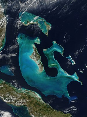 Geography of the Bahamas - The Bahamas from space. NASA Aqua satellite image, 2009.