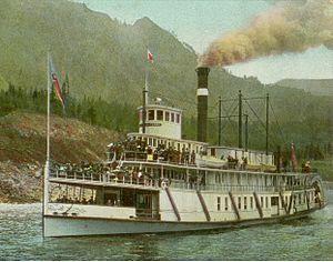 Steamboats of the Columbia River - Bailey Gatzert near Cascade Locks, circa 1910