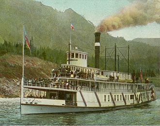 Steamboats of the Columbia River - Bailey Gatzert near Cascade Locks, circa 1910