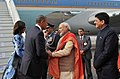 Barack Obama & First Lady Michelle Obama being warmly welcomed by the Prime Minister, Shri Narendra Modi, in New Delhi. The Minister of State (Independent Charge) for Power, Coal and New and Renewable Energy.jpg