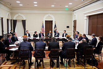 Democratic Governors Association - United States President Barack Obama and Vice President Joe Biden meet with the Democratic Governors Association in the Eisenhower Executive Office Building on 22 February 2013.