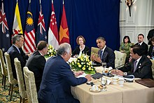 Lee Hsien Loong, Prime Minister of Singapore, attends the Trans-Pacific Partnership (TPP) meeting at ASEAN Summit 2012