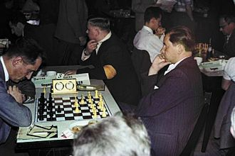 Paul Keres - Gedeon Barcza (left) vs. Keres, European Team Championship 1961