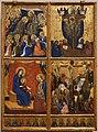 Barnaba da modena, incoronazione della vergine, trinità, madonna col bambino e crocifissione, 1374, 01.jpg
