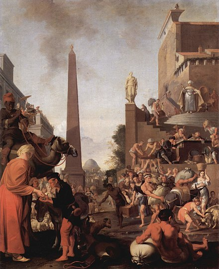 The Dutch Golden Age painter Bartholomeus Breenbergh placed an obelisk in the background of his 1655 painting Joseph Sells Grain Bartholomeus Breenbergh 002.jpg