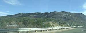 Raton Mesa - Bartlett Mesa rises above Raton Pass and Interstate Highway 25.