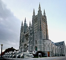 Basilica of Saints Peter and Paul in Lewiston at dusk.jpg