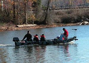 Bass boat - Standard aluminum bass boat, with trolling motor