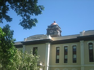 Bastrop County, Texas - Closeup view of the Bastrop County Courthouse, located across from the Roman Catholic Church in Bastrop