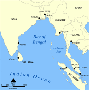 A map showing the location of the Bay of Bengal.