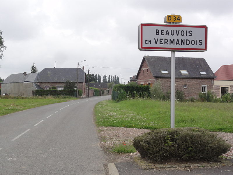 Beauvois-en-Vermandois (Aisne) city limit sign